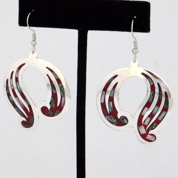 4a9dbbfeb Alpaca Mexico Jewelry | Mexican Earrings Abalone Alpaca Red Enamel ...